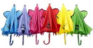 Børneparaply med smil og ører