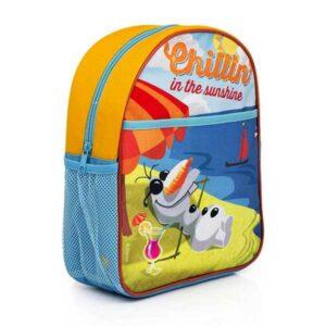 Skoletaske med Oluf i solen