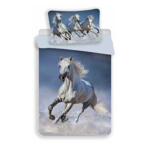 Sengetøj med hvide heste