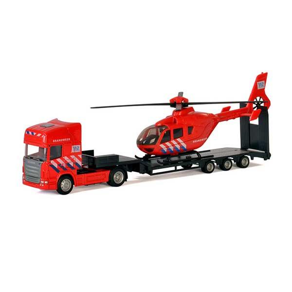 Brandbil med helikopter